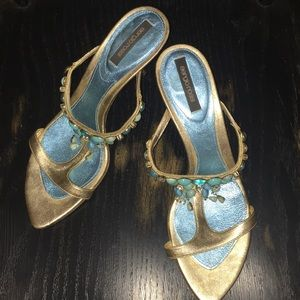 sergio rossi open toed blue/gold sandals/heel